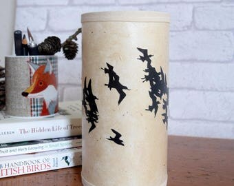 Papercut Silhouette Bird Table Lamp with Avocet Flock - fitted with UK plug - small papercut art table lamp