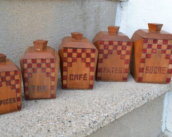 Set of 5 Wooden French Vintage Storage Jars Canisters