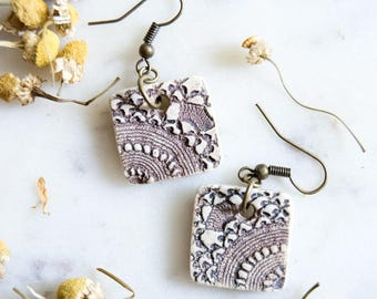 Vintage Lace Ceramic Square Earrings