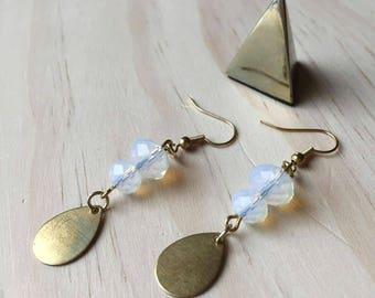 Opalite Gold Tear Drop Earrings