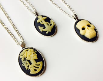 Skull | Skeleton | Anchor | Cameo | Vintage Style | Retro | Victorian Inspired | Monochrome | Festival