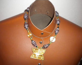 Necklace Choker in Earth clay and glass beads