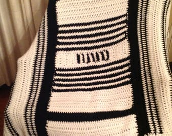 Crocheted Afghan black & white