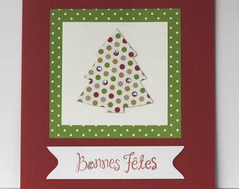 Good holiday card - Christmas tree polka dots - rhinestones