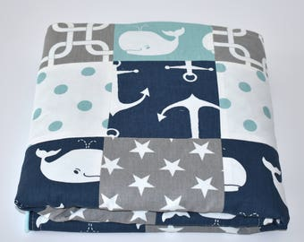 Canal and Navy  Whales Patchwork Blanket, Girl Nursery, whales, nursery,navy, canal, green