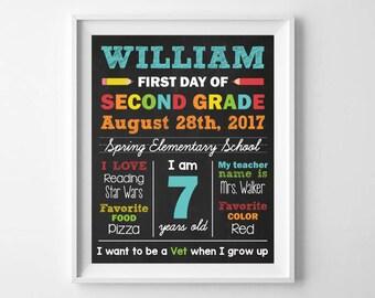 First Day of School, Chalkboard School Poster Sign, 1st Day of School Sign Printable, Back to School, Digital Printable, Any Grade School