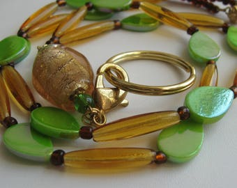 Green and Gold Lanyard / Badge Holder