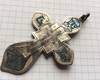 Very rare Antique Russian Imperial 84 silver enamel cross صليب