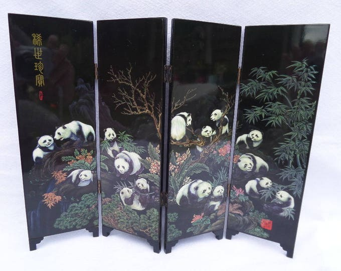 """Giant Panda Table Top Screen, Folding Chinese Table Screen, 9.5"""" x 12.25"""" x 0.25"""", Iridescent Foil Etched Design, Immaculate, Circa 1980"""