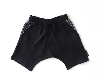 Black Baby Harem Shorts - Toddler Harem Shorts - Kids Spring Shorts - Black Kids Fashion - Monochrome Toddler Clothes - by PetitWild