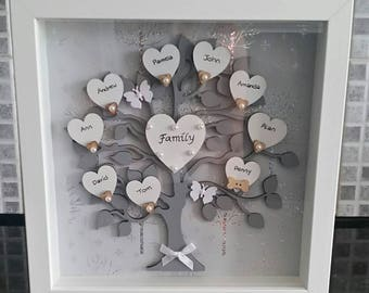 "Personalised Family Tree Frame 9"" x 9"" - Silver/White"