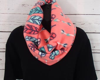 Coral Arrow Feather Infinity Scarf