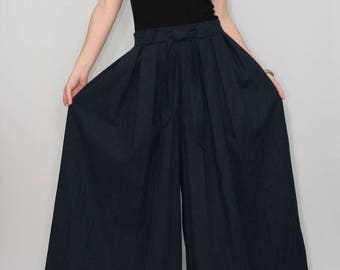 Linen pants Navy blue pants Wide leg pant skirt Palazzo pants Custom made clothing