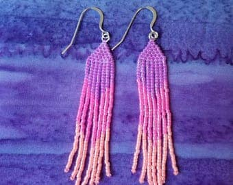 Neon purple, pink, orange, fringe earrings