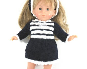 Doll clothes - set long sleeve dress Navy Blue and white
