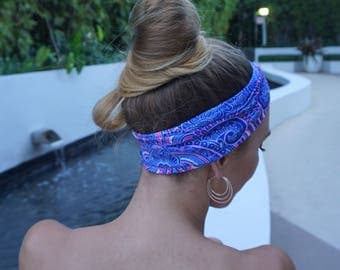 Blue Yoga Headband / Wide Yoga Headbands / Fitness Headband / Running Headband / Yoga Wide Headband / Womens Headbands / Gift For