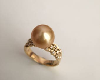 11mm Golden Pearl Engagement Ring Golden Pearl Ring Yellow Pearl Ring