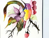 "Watercolor Painting Hummingbird with Rainbow Flower, 9 x 12"", Hummingbird, Bird Painting, Wall decor, Wall Art, Flower Painting, Gift"