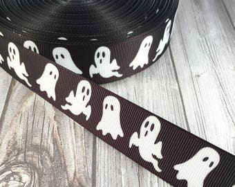 Halloween ribbon - Ghost ribbon - Holiday ribbon - Grosgrain ribbon - Black white ribbon - Spooky ghost - Halloween decor - Ghost decor
