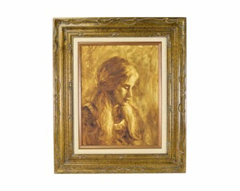1970's Sepia Tone Oil Painting Portrait of Young Woman by Steiner