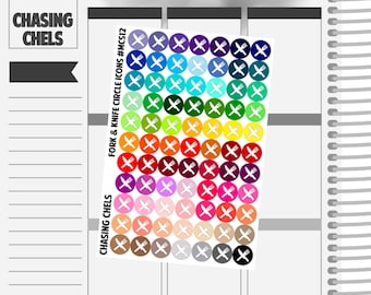 Fork & Knife Circle Icons #MCS12 Premium Matte Planner Stickers