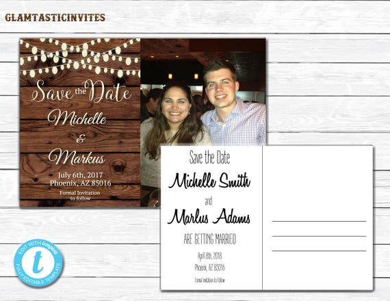 rustic save the dates printable rustic save the date postcard save