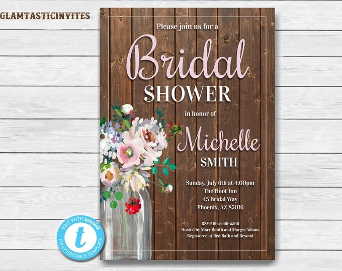 Rustic Bridal Shower Invitation, Rustic Invitation, Bridal Shower Template, Country Bridal Invitation, Bridal Shower Invitation, Template