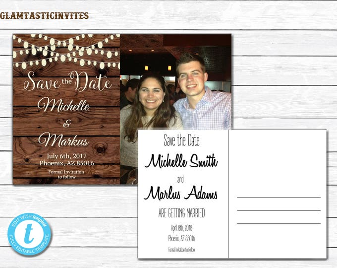Rustic Save-The-Dates, Printable Rustic Save the Date Postcard, Save the Date, Rustic Wedding, Postcard, Save the Date Template, YOU EDIT