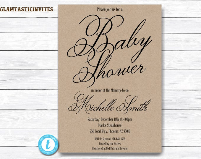 Baby Shower Invitation Template, Kraft Baby Shower Invitation, Editable, Template, YOU EDIT, Rustic Baby Shower Invitation Template