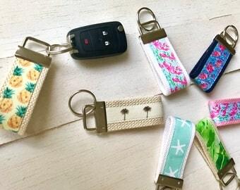 Custom Key Fob- Key Chain, Lilly Pulitzer Key Fob, Pineapple Key Fob, Lobstah Roll Key Chain, Flamingo Print Key Chain