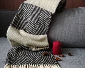 Pure Wool blanket with fringes, Wool blanket Pure wool throws Wool throw130X180cm Perfect gift