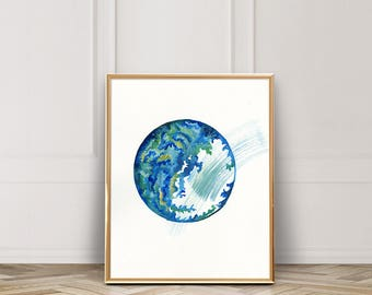 Watercolor Geode / Watercolor / Abstract Rock / Earthy / UNFRAMED 9 x 12 in Art Print / 11 x 14 in Art Print