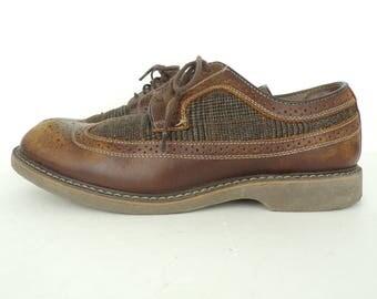 Vintage 90s Mens Bass Brown Saddle Shoes Size 9.5D, Mens Loafers, Bass, Mens Saddle Shoes, Leather Loafers, Wingtip Loafers, Mens, Plaid