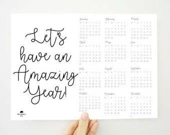 Amazing Year Digital Calendar, 2018 Calendar, Printable Calendar, Motivational Wall Art, Motivational Quote Print, Planner, PDF Calendar