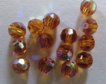 Round 4 mm Topaz AB Swarovski beads