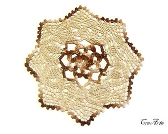 Brown Crochet Doily, Small Doily, Crochet coasters, Table decorations, Round doily, Centrino piccolo