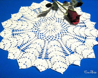 White Crochet Doily, Round Doily, Lace Doily, Table Decorations, Centrino bianco