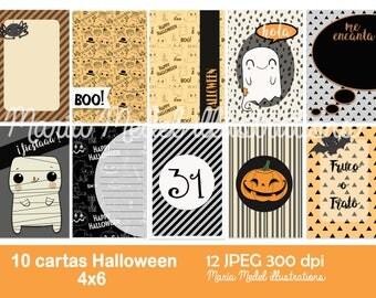 Printable journaling cards o tarjetas project life de Halloween en  ESPAÑOL- 10 tarjetas