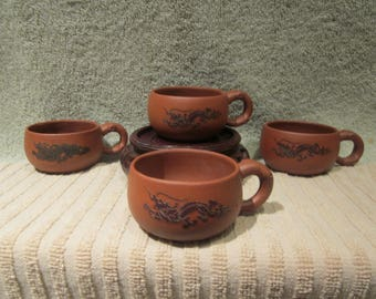 Rare Chinese Yixing Zisha Cay Tea Cups Hand Made Dragon Details Set of 4  with Markings