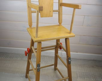 Wood and metal made in France vintage doll high chair / vintage wooden doll furniture