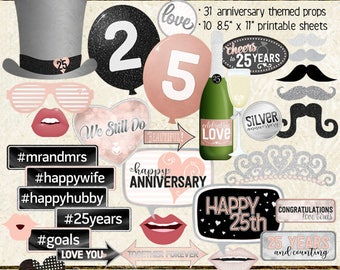 Photo Booth Props, HAPPY 25TH ANNIVERSARY, party, black, silver, rose gold, pink, selfie station, printable sheets, instant download