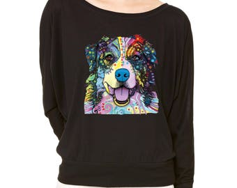 Rescues Are My Favorite Love Long-Sleeve Don't Shop Adopt Flowy Shirt AUSTRALIAN SHEPHERD Flowy Shirt