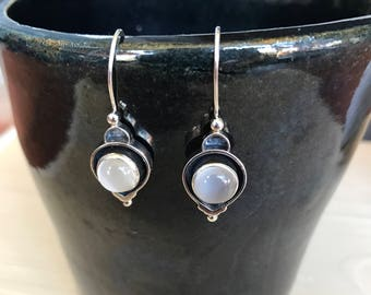 Sterling silver and moonstones hook earrings romantic style 925 dangling