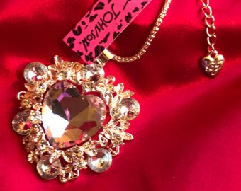 Heart Pendant Crystal PINK Valentine Heart Pendant Sweater Chain Necklace With Gold Gift Box