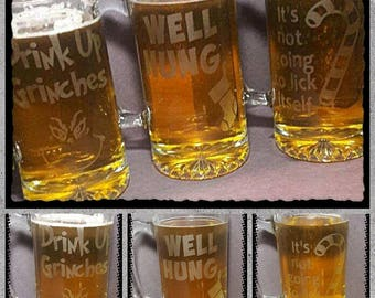 Funny Christmas beer mug, Etched Beer mug, Christmas Mug, Grinch, Drink Up