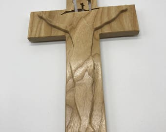 Beveled Crucifix with Stars - Ash