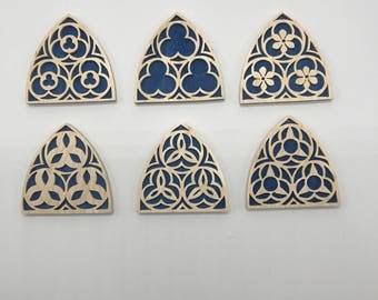 Gothic Church Window Ornament Set - Maple & Blue Veneer