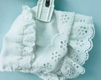 Precious White Eyelet Baby Bonnet