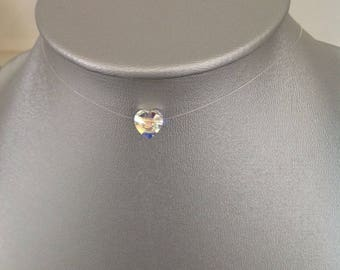Swarovski crystal AB heart nylon thread