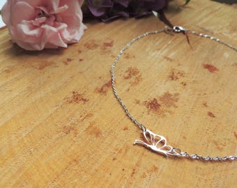 Butterfly Choker Necklace, silver, animal, romantic, love, summer necklace